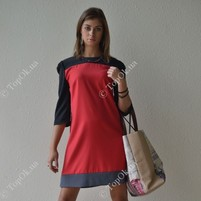 Купить Платье красное с серым. САДОВСКАЯ ТАТЬЯНА (Sadovska)