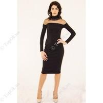 Купить Черное облегающее платье с прозрачной кокеткой  НАЗИК ВЛАДА (Vlada Nazik)
